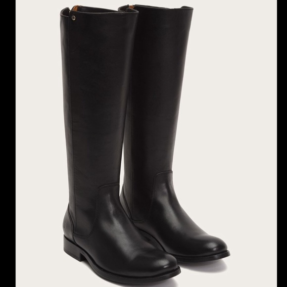 Frye Black Leather Tall Boots Zip Back